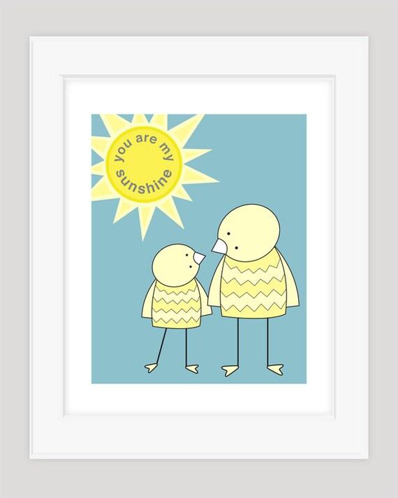Blue Nursery Art, Boy Nursery Art, Nursery Art, You Are My Sunshine, Nursery Art Print, Nursery Wall Decor, Nursery Wall Art