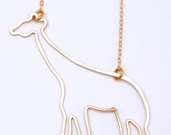 giraffe gold filled or sterling silver necklace