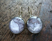 travel the world earrings, map, world, globe, geography, continents - going away, gift for her, wedding, graduation, business