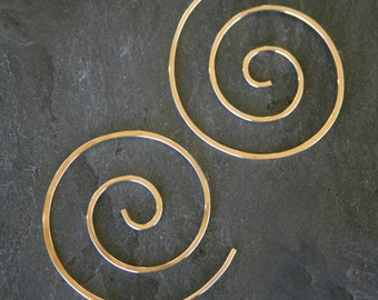 14k Gold Filled Spiral Earrings 14 karat Gold Fill Swirl Koru Ocean Wave Festival Size Medium