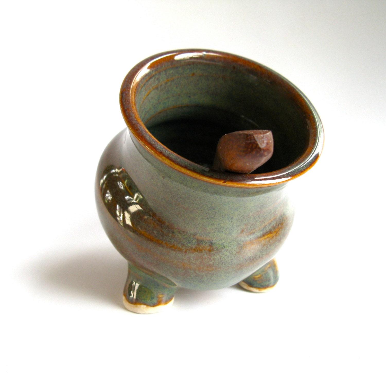 Amber Green Ceramic Salt Pig Salt Cellar Handmade Pottery
