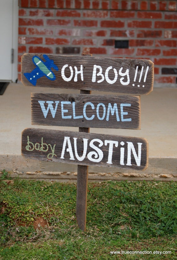 Baby shower sign decorations its a boy sign its by for Baby welcome home decoration
