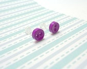 Purple Stud Earrings Mini Buttons Metal Free Acrylic Posts Hypoallergenic Posts Sensitive Ears Kawaii Little Earrings Zero Metal Waterproof