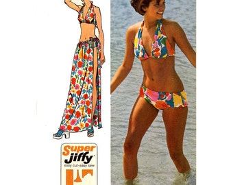 70s vintage bikini and wrap with tie swimsuit bathing suit sewing pattern Simplicity 5644  Size small