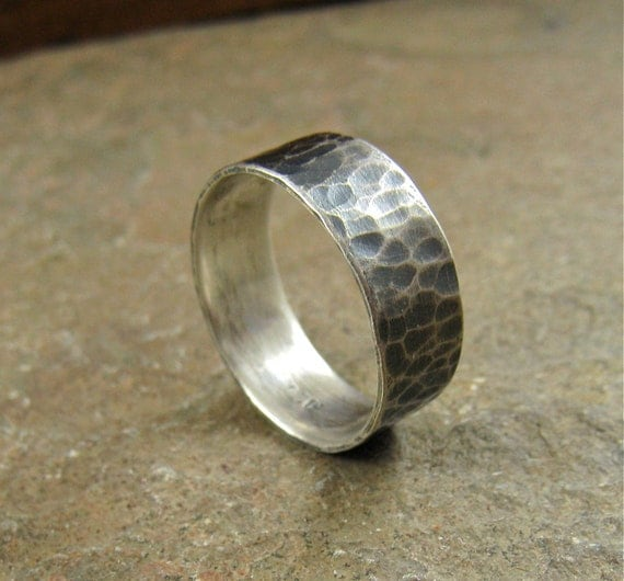 sterling silver mens wedding band mens silver ring silver mens ring hammered silver ring