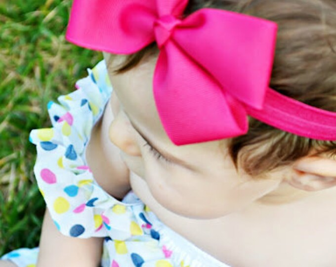 Shocking Pink Bow Band - Shocking Pink Bow on an Elastic Headband Baby Infant Toddler - Girls Hair Bows