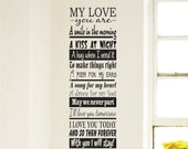 Romantic Wall Decal My Love You Are a Wall Sign Decal Poem