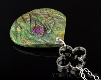 Ruby in Zoisite Carved Floral Pendant in Sterling Silver, pink and green gemstone, flower pendant, Ruby in Fuchsite