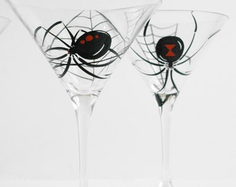 Black Widow Spider Martini Glasses -- Set of 2 Hand Painted Halloween Glasses