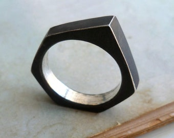 Industrial RIng - Size 11 - Black - Sterling Silver - Oxidized - Asymmetrical - Industrial - Nut n Bolt - Statement Ring - Made In Brooklyn