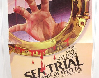 Vintage Book Advertising Poster - Sea Trial by Frank De Felitta - Horror Novel Illustrated