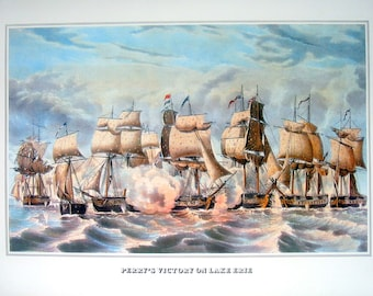 Currier and Ives Print - Perry's Victory on Lake Erie - 1978 Large Vintage Book Page for framing