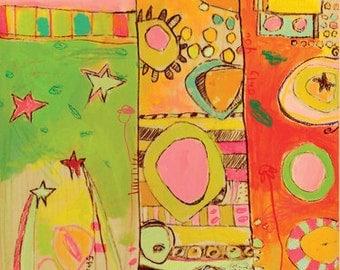 Sizzle Giraffe Canvas Print by Jennifer Mercede 48X12