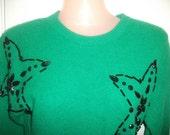 Super Star Mod - Retro n Fabulous Green Glam Gem and Glitz Sweater by Weathervane - Small