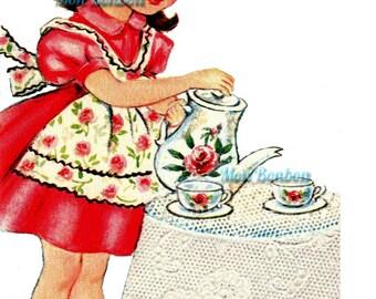 Cute Retro Tea Time Little Girl Illustration .PnG  - DIY Printable - Digital Clip Art - INSTANT DOWNLOAD