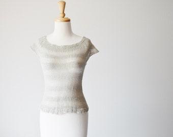 Sheer Striped Linen Loose Knit Summer Top. French Grey. All Natural Cotton Linen Blend Hand Knit Women's Summer Tank Top Sleeveless Raglan