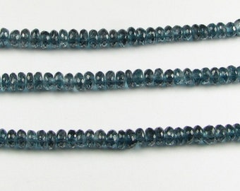 AAA London Blue Topaz Faceted Rondelle Gemstone Beads 4.5mm (2 inch mini strand 25 beads)