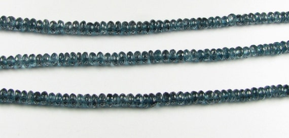AAA London Blue Topaz Faceted Rondelle Gemstone Beads 4mm (2 inch mini strand 25 beads)