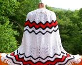 vintage 70s cape poncho AFGHAN chevron wrap shawl fringe blanket coat jacket hippie boho Medium Large women white red black