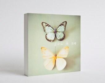 Butterfly photo block - butterflies, pastel blue, green, yellow, nursery decor, kids wall art, girls room decor, butterfly decor, You and Me