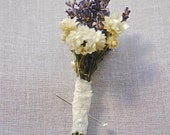 Custom Lavender Boutonniere with White Dried Flowers wrapped in Lace