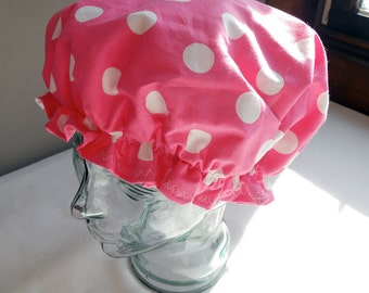 Shower Cap Bubblegum Pink with Large Retro White Polka Dots - Rockabilly Bath and Beauty Hat