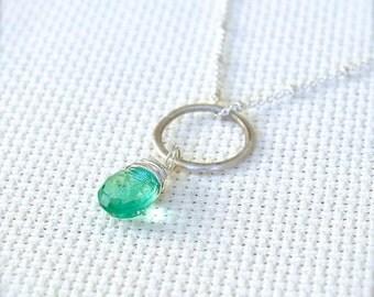 Sterling Silver Satellite Chain Necklace with Wire Wrapped Green Quartz Gemstone Pendant - Alchemist // L176