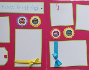12x12 Premade Scrapbook Pages -- HAPPY FIRST BIRTHDAY BaBy GiRL -- baby's first birthday - SaLe