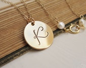 Family monogram necklace, mothers day gift, hand stamped large gold initial necklace, single initial, personalized jewelry for mom