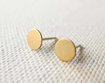 Circle Stud Earrings, Golden Brass Jewelry, Minimalist Earrings, Round Studs, Unisex Earrings, Geometric Jewelry, Silver Hypoallergenic