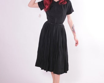 50s Dress - Black DEADSTOCK Zip front Crepe Dress - Nicholas Ungar -Small