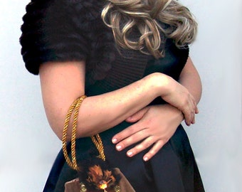 50% SALE!!  1920's Vintage Inspired Purse - Brown and Gold Art Deco Handbag Ready To Ship!!