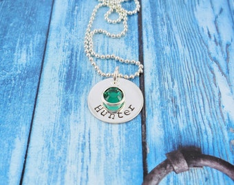 Mothers Personalized Necklace, Hand Stamped Sterling Silver name necklace, Mothers necklace with kids name, ,Mothers Day gift for Mom