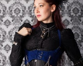 Steampunk Harness Royal BLUE Velvet Faux Suede Underbust Bodice with Silver Gears, Buckles, Chain, and Antique Keys by Velvet Mechanism - velvetmechanism