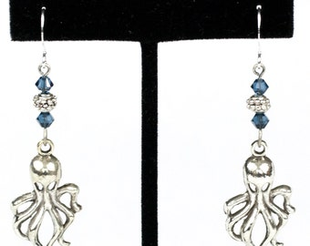 Steampunk Antiqued Silver Octopus Tentacle Earrings with Swarovski Blue Crystal Beads by Velvet Mechanism