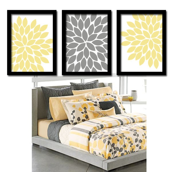 Wall art for grey bedroom : Yellow gray wall art bedroom canvas or prints by trmdesign