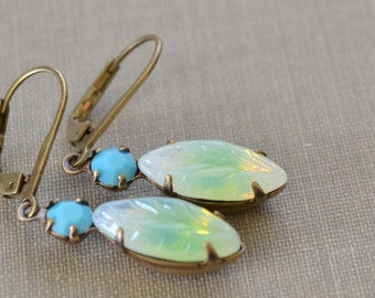 Turquoise and Green Estate Earrings, Lever Back, Vintage Leaf Glass Rhinestone, Antiqued Brass Earrings, Bridesmaids
