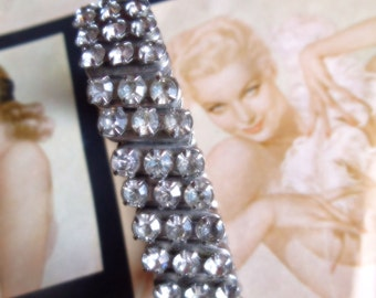 50s Rhinestone Bracelet Expansion Triple Row Sparkly Costume Jewelry Bling Silver Tone Glam Mid Century