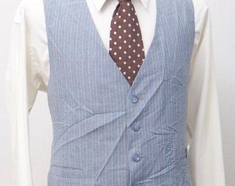 Men's Suit Vest / Vintage Blue Pinstripe Vest / Size 46 XXL