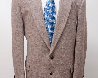 Men's Blazer / Vintage Harris Tweed Wool Jacket / Size 44 Large