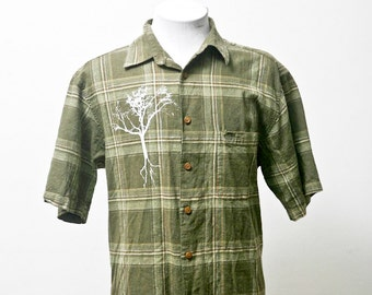 Men's Shirt / Preppy Plaid Summer Shirt / Upcycled with Screen Printed Tree / Size Medium