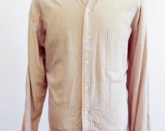 Men's Shirt / Vintage Striped Cotton Oxford / Size L-XL