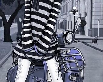 SALE Mod Misty Moped Scooter Pet Tiger City Urban Fairy Original Painting