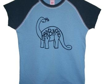 4 DOLLAR SALE: Herbivore Vegetarian Dinosaur Hyp Shirt (Girls sz. 7/8, 10/12, 14/16)