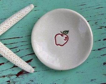 Red Apple on Mini Ceramic Dish