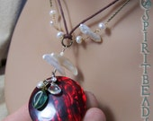 Fire Abalone Pendant White Pearl Chain and Cord Necklace