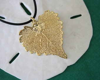 Gold Real Leaf Necklace, Cottonwood Leaf Jewelry, 24kt Gold Pendant, Leaf Jewelry, Mothers Day Gift, Bridesmaid Necklace, 8