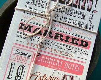 Joyful Pink Wedding invitations, state wedding invitations, locatation wedding, custom colors available