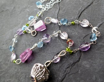 Gemstone birdcage charm necklace in sterling silver - blue topaz, amethyst, ametrine - garden party - bright pastel gems - gemstone jewelry