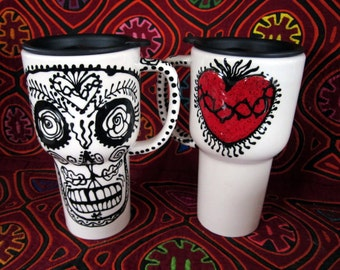 Sacred Heart & Skull Travel Mug for Wild Travellers and Day of the Dead